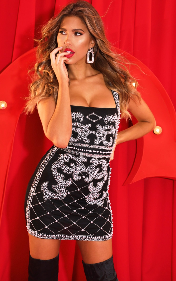 Black Beaded Sequin Bodycon Dress