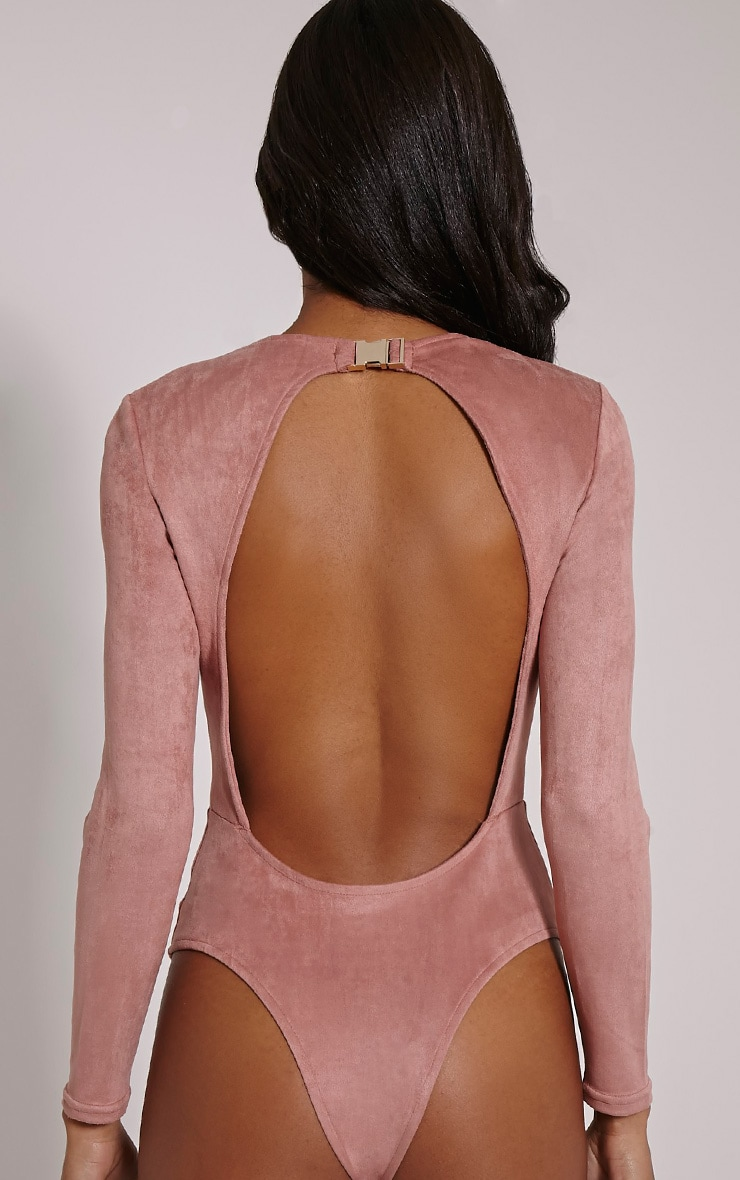 Rayna Rose Faux Suede Backless Buckle Bodysuit 6
