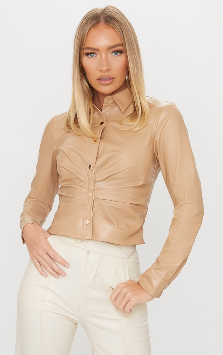 Cream PU Ruched Button Stand Fitted Shirt 1