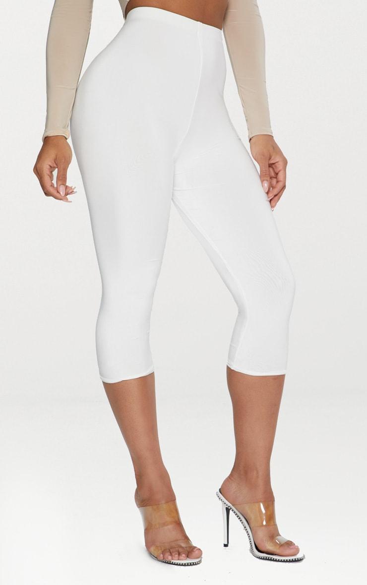 White Slinky Cropped Legging  2