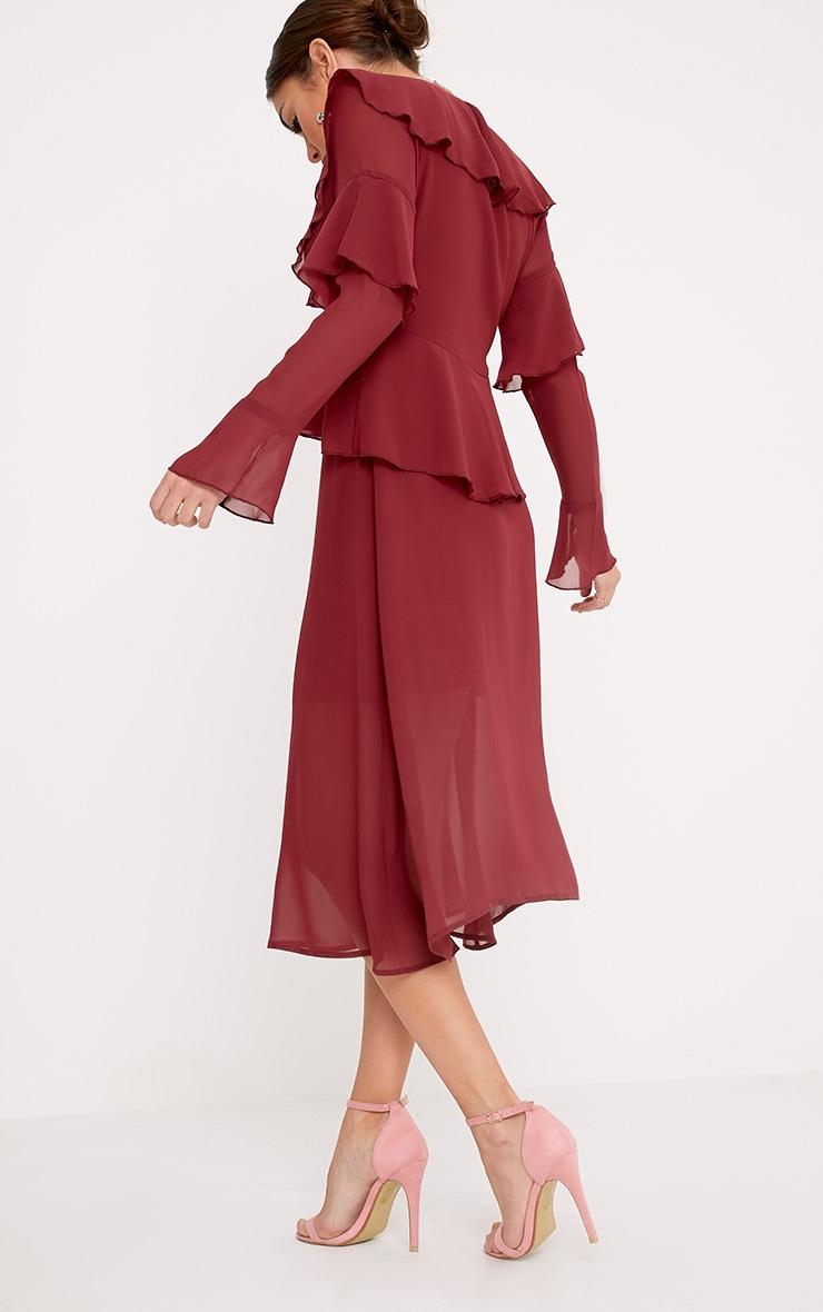 Kaselia Burgundy Frill Detail Midi Dress 2
