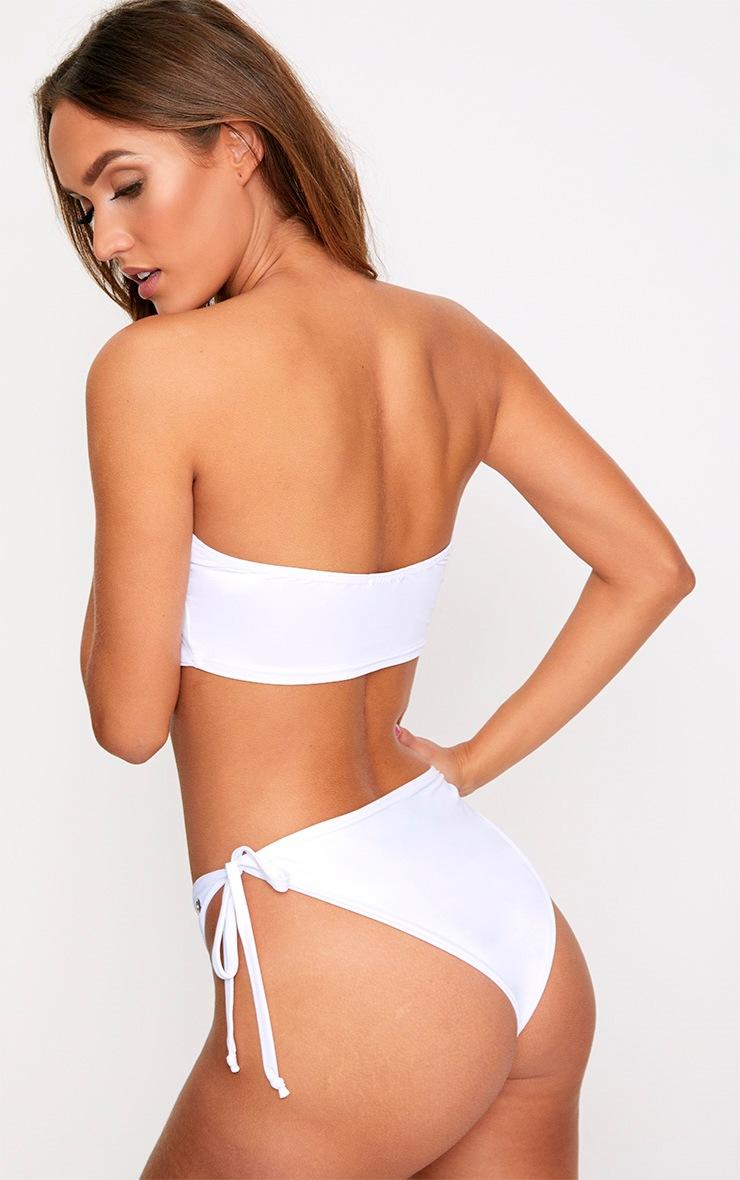 White O-Ring Detail Bandeau Bikini Set 2