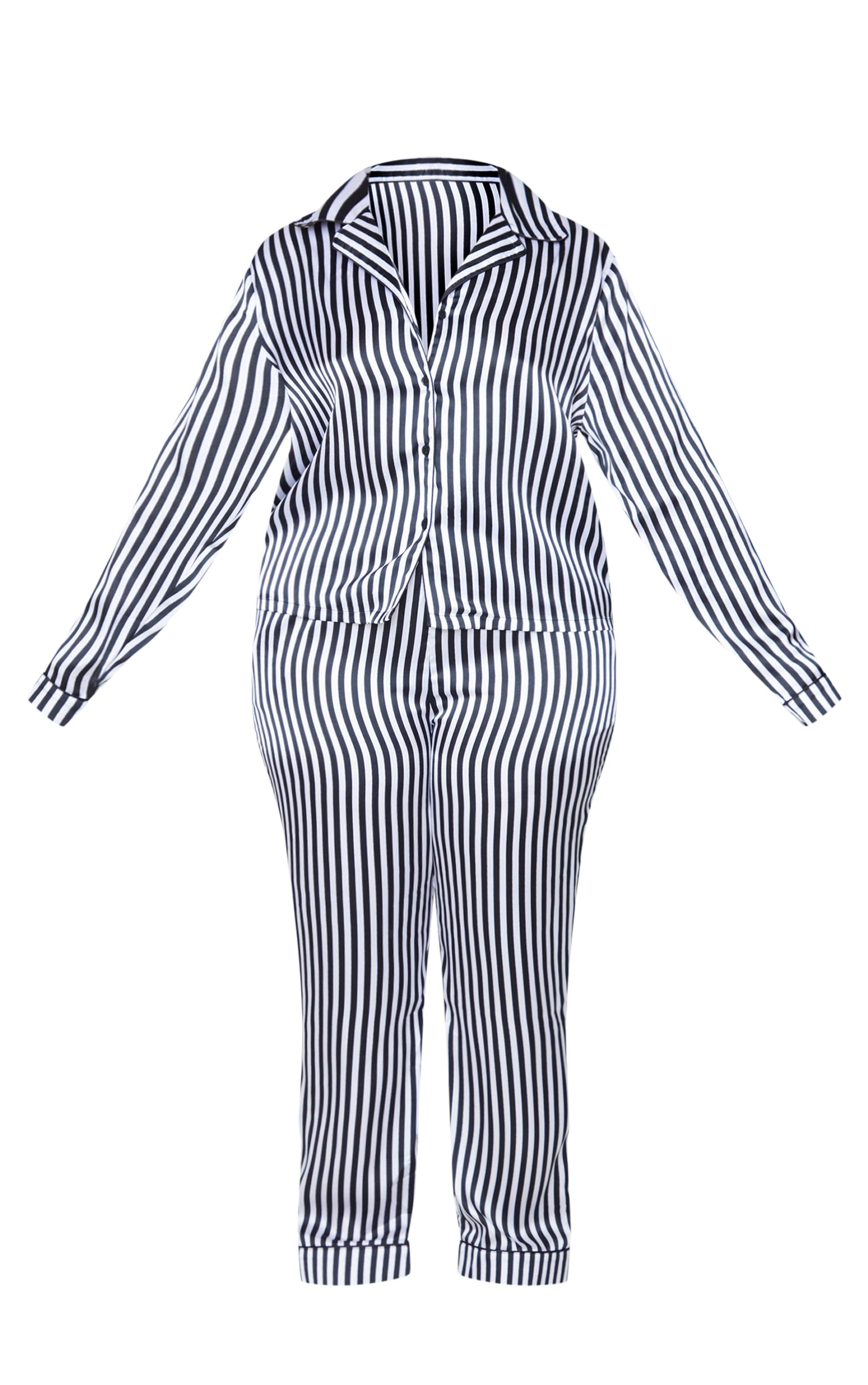 Plus Black Long Striped Satin PJ Set 5
