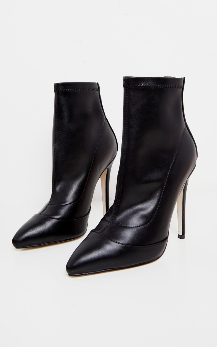 Black PU Pointed Ankle Sock Boots 3