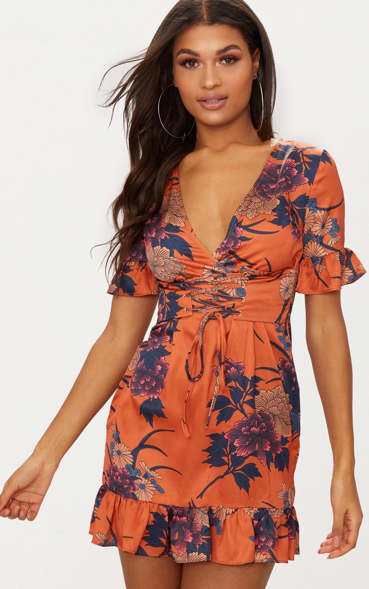 Orange Floral Corset Swing Dress