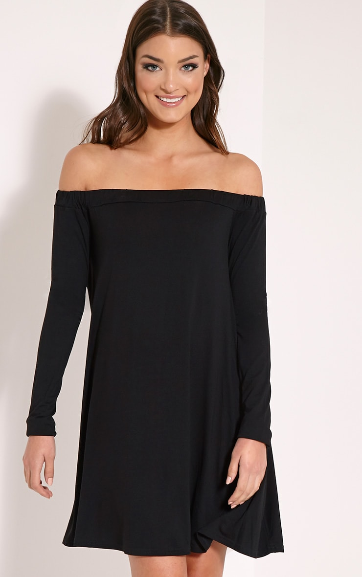 Basic Black Jersey Bardot Swing Dress 1