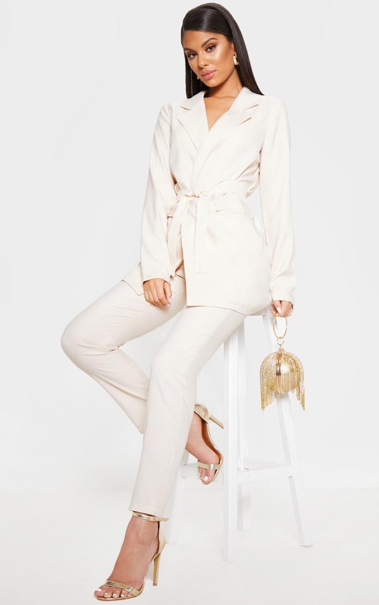 Ivory Tie Front Woven Blazer 1