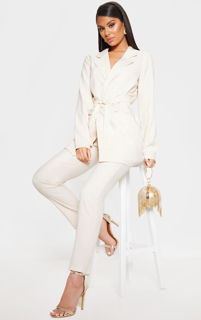 Ivory Tie Front Woven Blazer