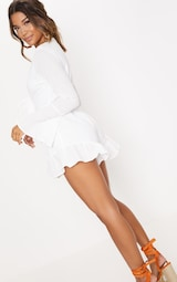 be50f3b523 White Cheesecloth Tie Front Bell Sleeve Playsuit image 3