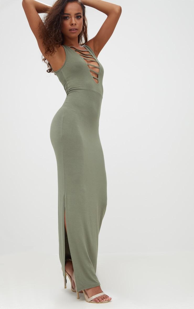 Petite Khaki Ladder Plunge Maxi Dress 4