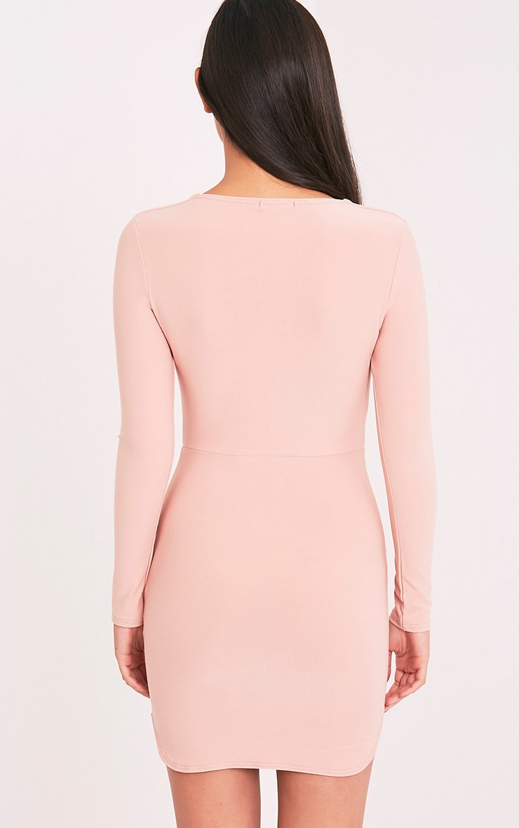 Shylo Blush Long Sleeve Plunge Bodycon Dress 2