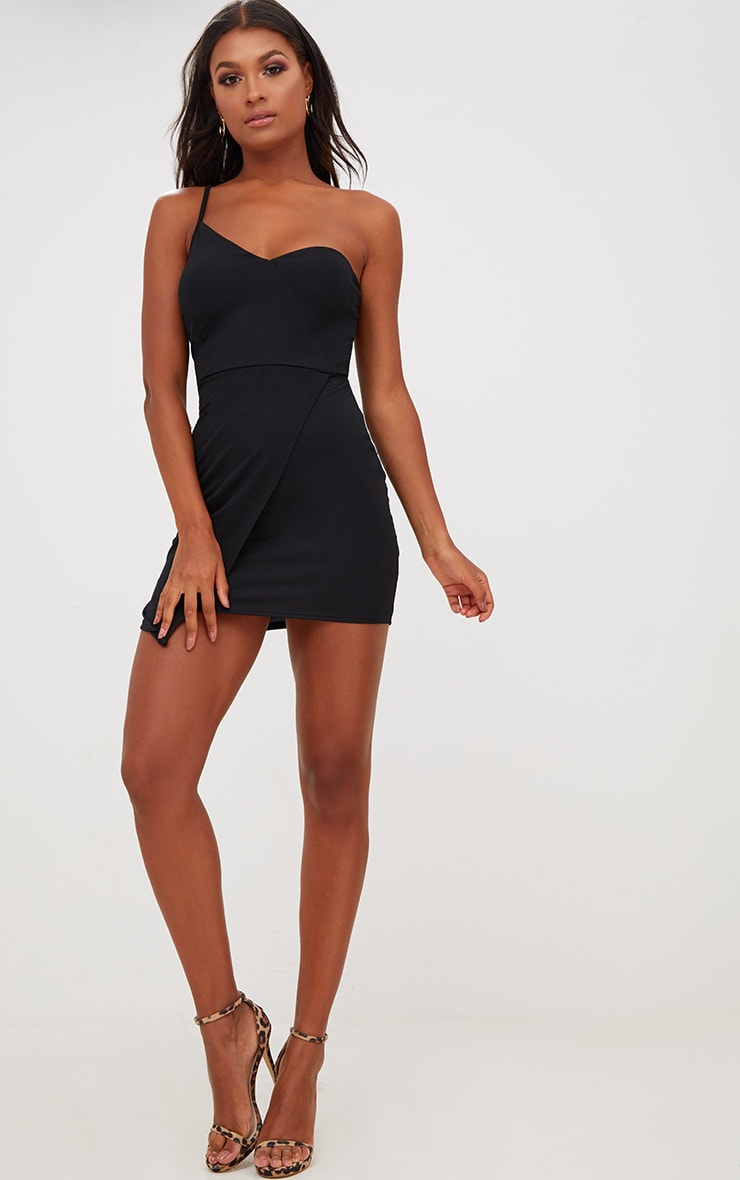 Black Asymmetric One Shoulder Bodycon Dress 4