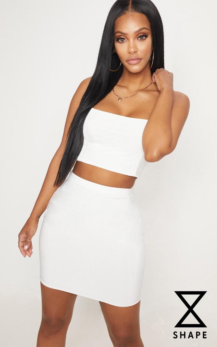 Shape Ivory Slinky Mini Skirt