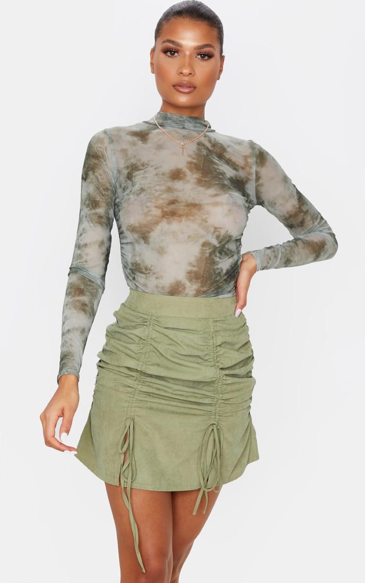 Khaki Faux Suede Double Ruched Detail Mini Skirt 5