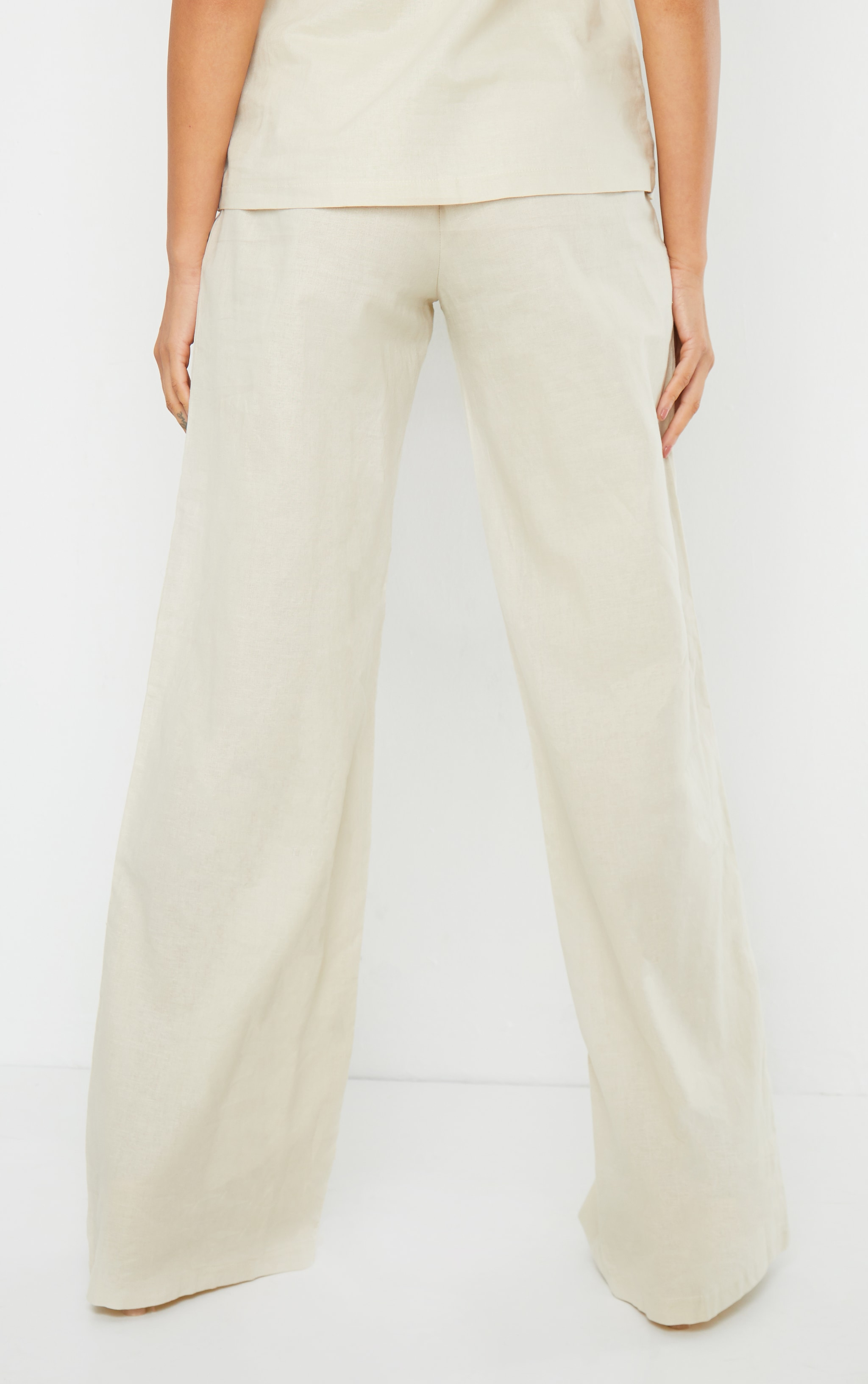 Cream Woven High Waisted Wide Leg Pant 3