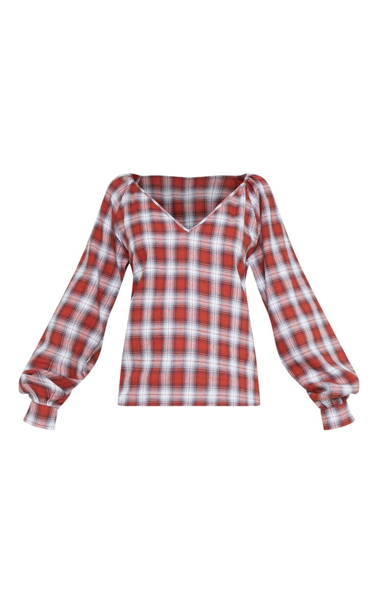 Red Check Woven Plunge Long Sleeve Top 3