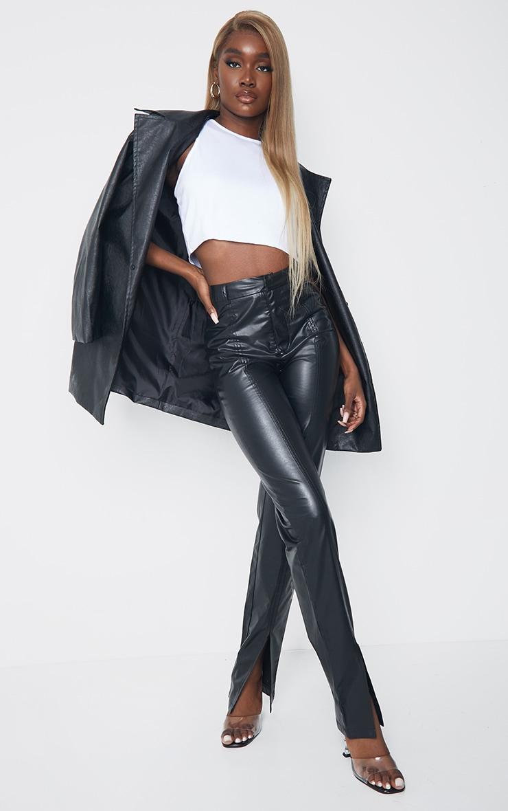 Tall Black Faux Leather Split Hem Seam Detail Skinny Pants 1