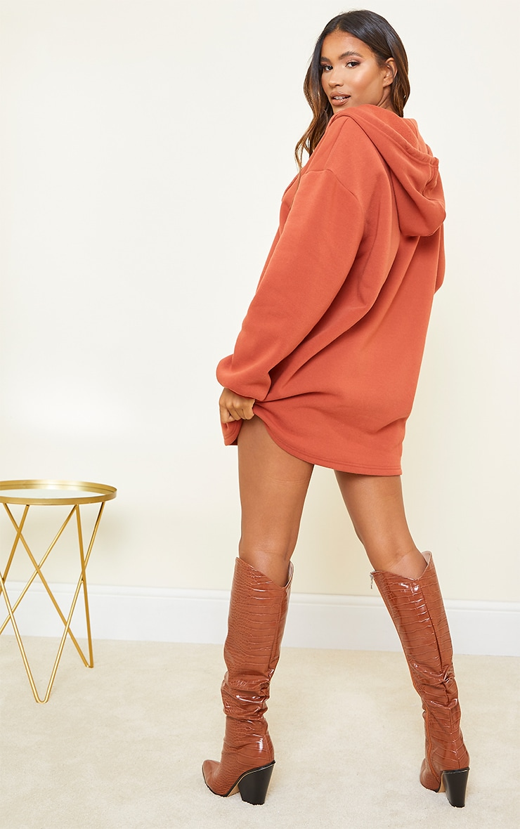 Rust Washed Zip Toggle Detail Hoodie Sweat Jumper Dress 2