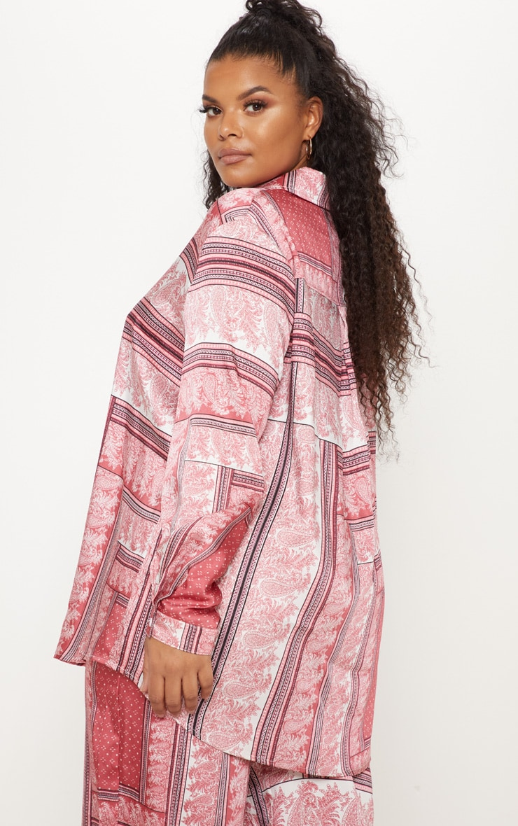 Plus Pink Scarf Print Oversized Shirt 2