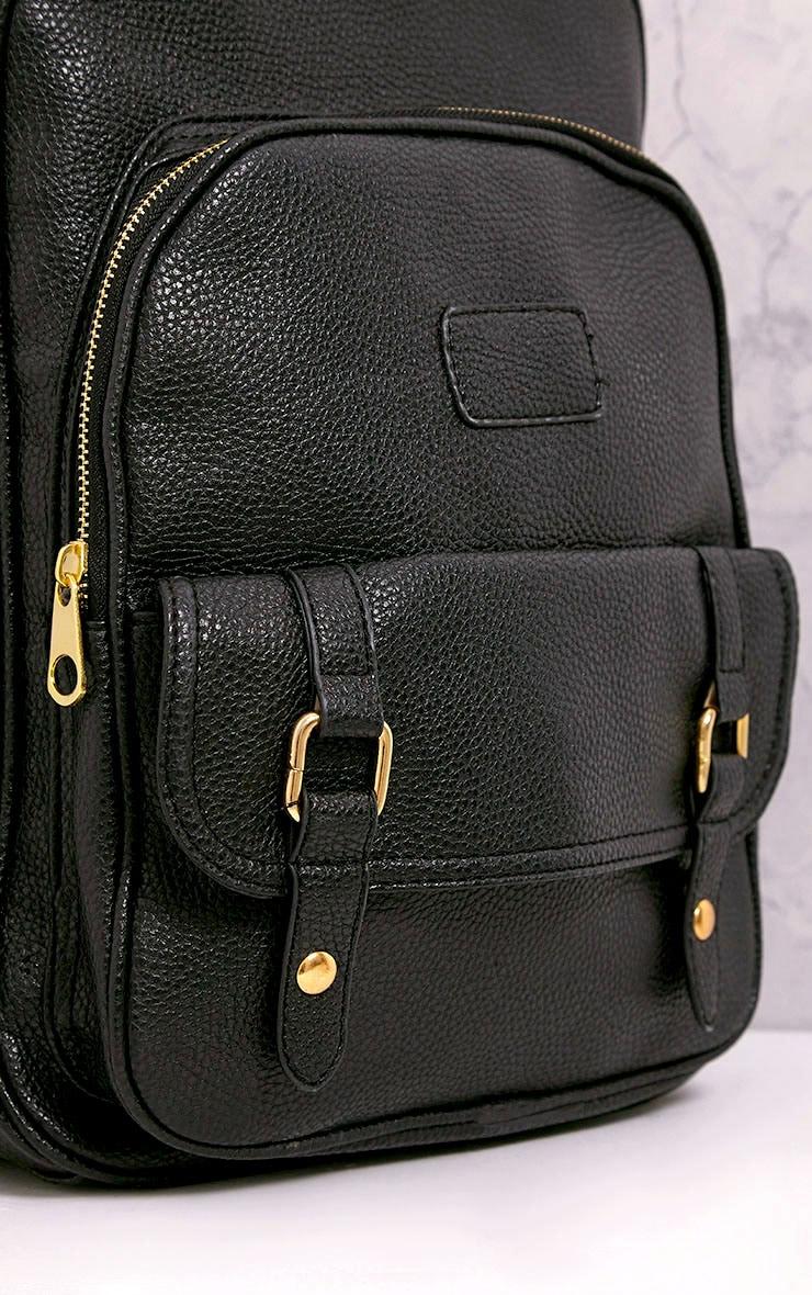 Yamkah Black PU Backpack 5