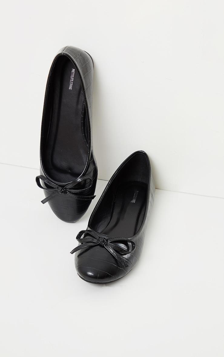 Black Wide Fit Croc PU Round Toe Ballet Shoes 4