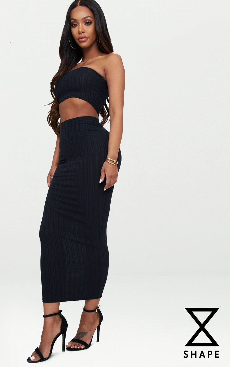 Shape Black Ribbed Longline Midi Skirt 1