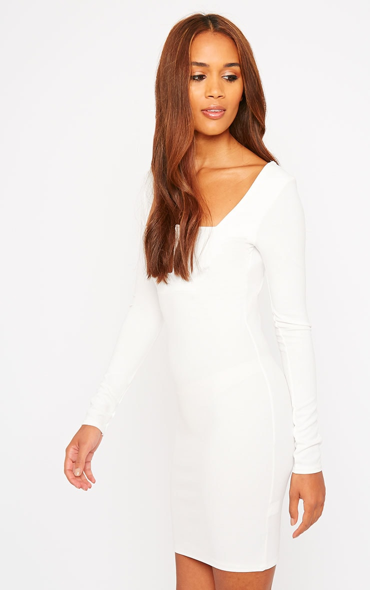 Roz Cream Plunge Mini Dress 4