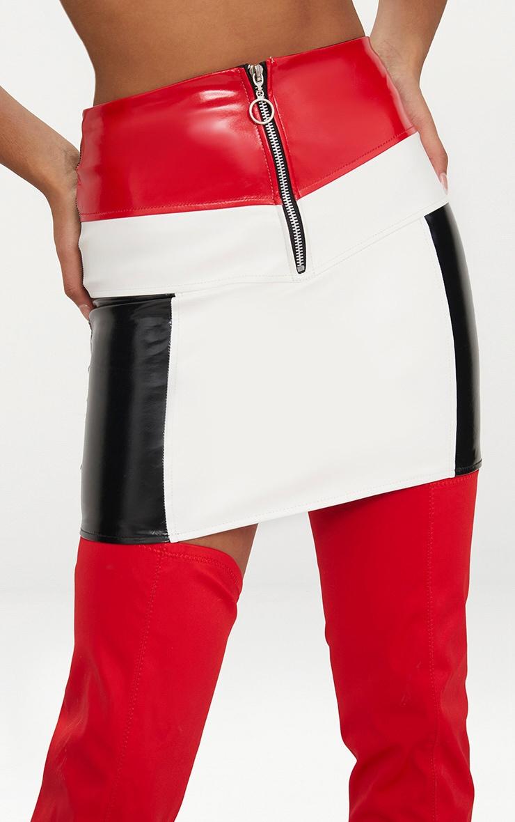 Petite Red Contrast Vinyl Mini Skirt 5