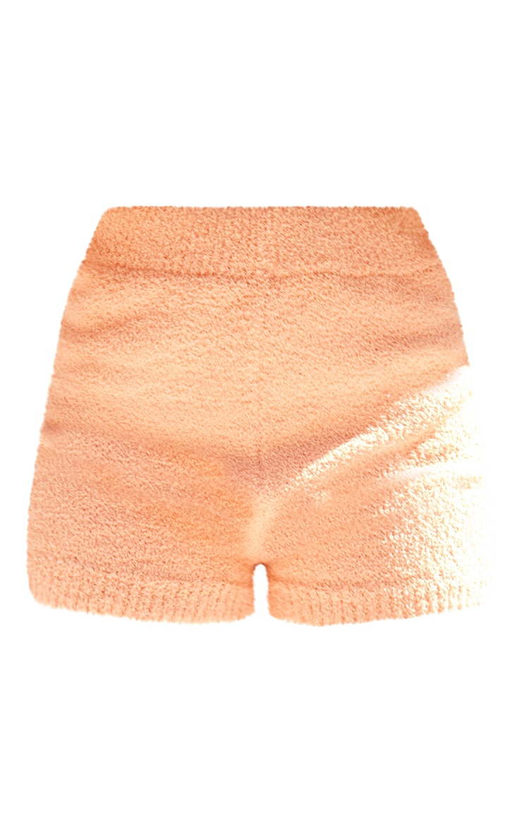 Petite Peach Fluffy Knitted Shorts 6