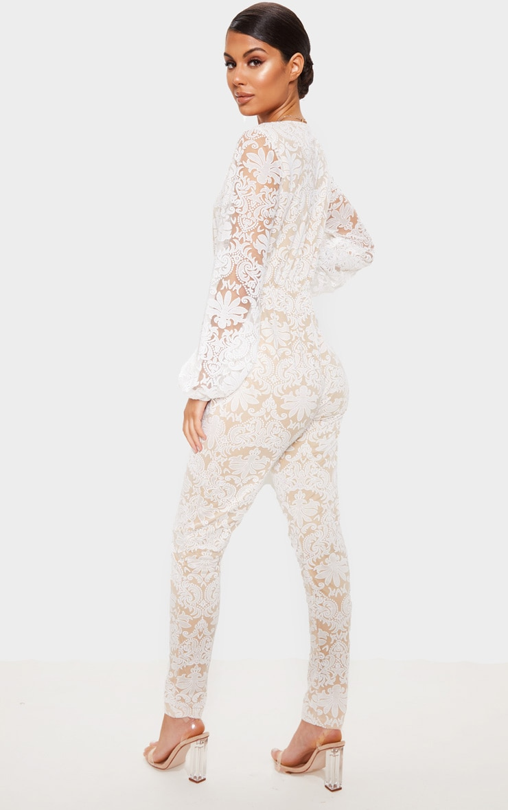 White Sheer Paisley Long Sleeve Jumpsuit 2