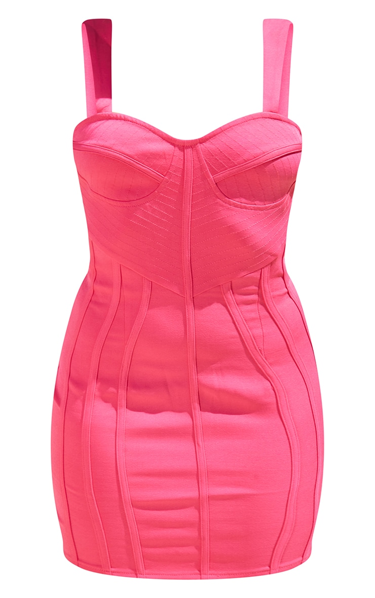 Petite Pink Strappy Corset Detail Dress 5