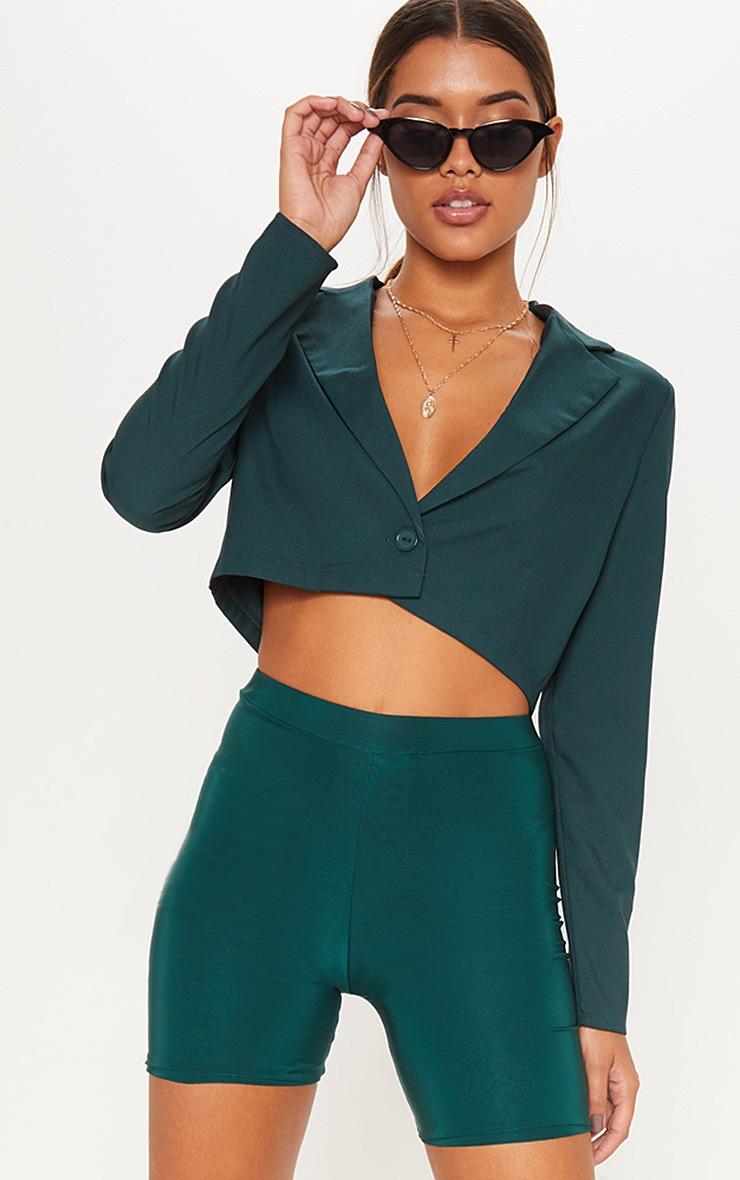 Emerald Green Cropped Blazer  4