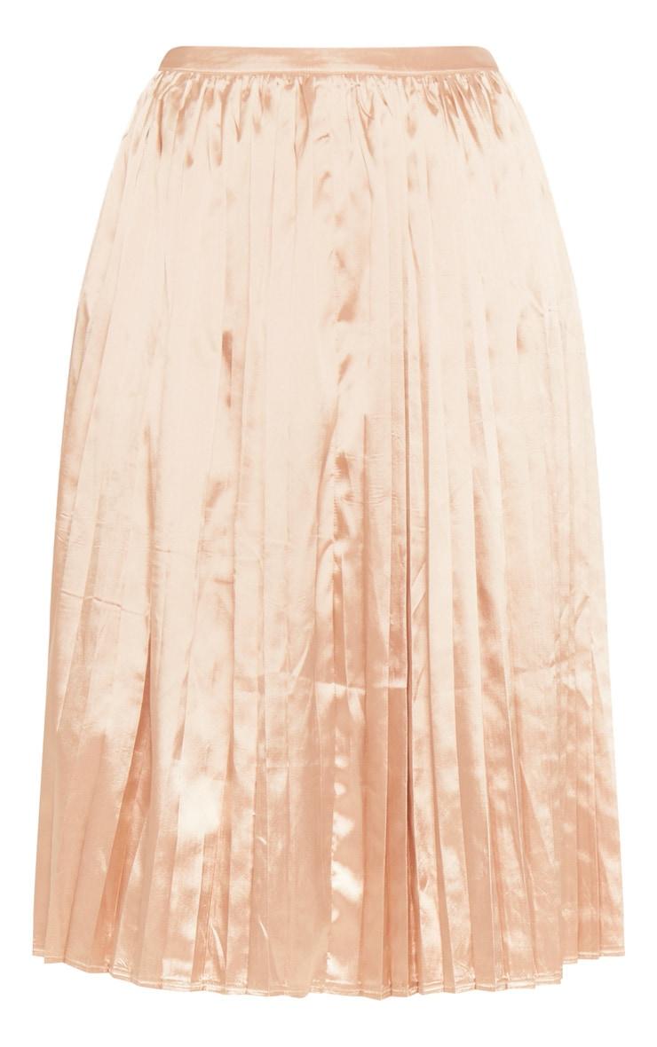 Tall Champagne Satin Pleated Midi Skirt  3