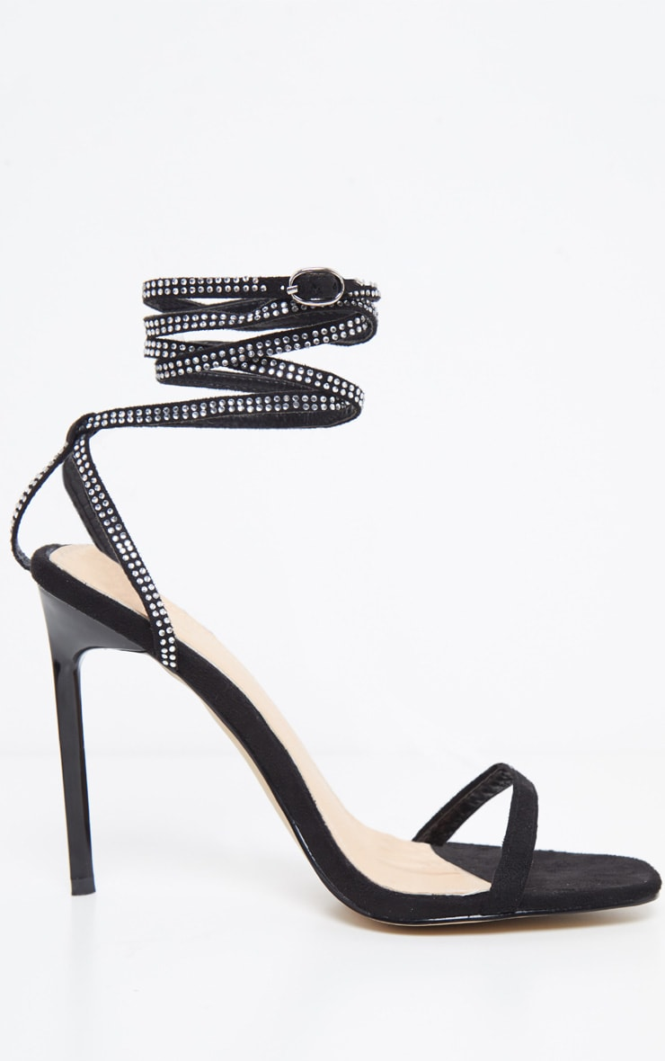 Black Ankle Diamante Heel 3