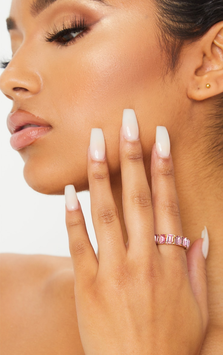 Pink All Round Diamante Band Ring 1