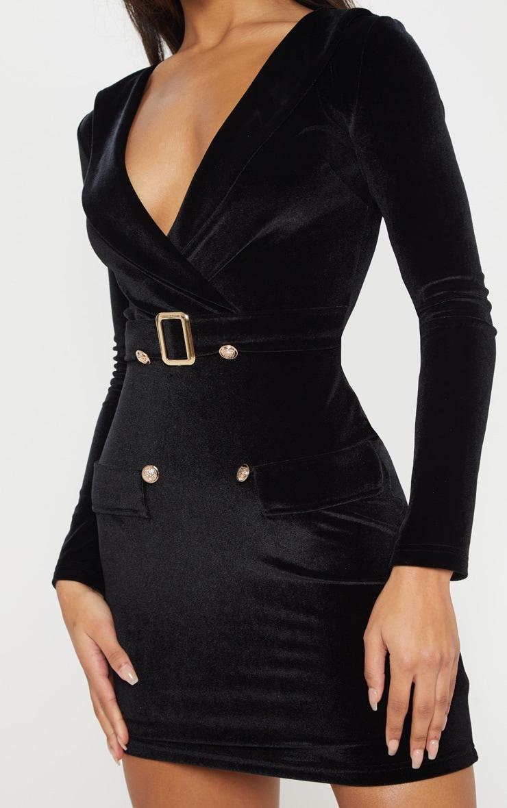 Black Velvet Gold Button Buckle Detail Blazer Dress 5