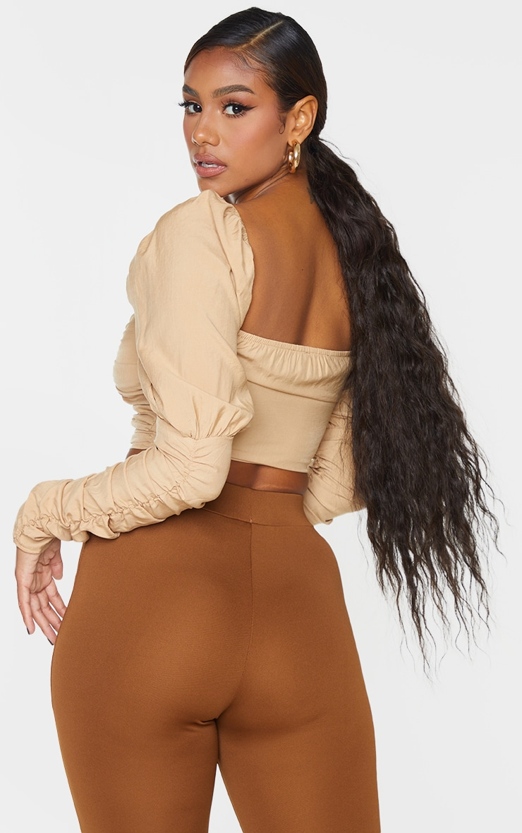 Beige Woven Multi Ruched Hook And Eye Puff Sleeve Crop Top 2