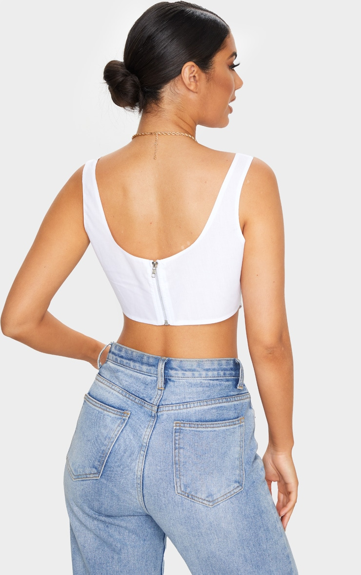 White Woven Pintuck Detail Curved Hem Crop Top 2