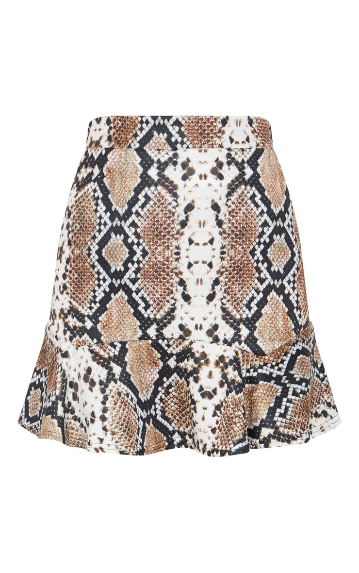 Taupe Verity Snake Print Flippy Hem Mini Skirt 3
