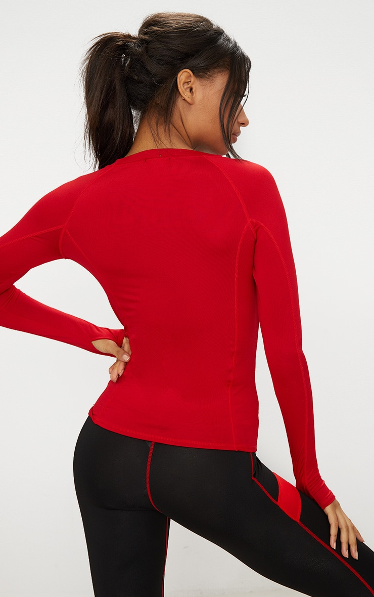Red Long Sleeve Gym Top 2