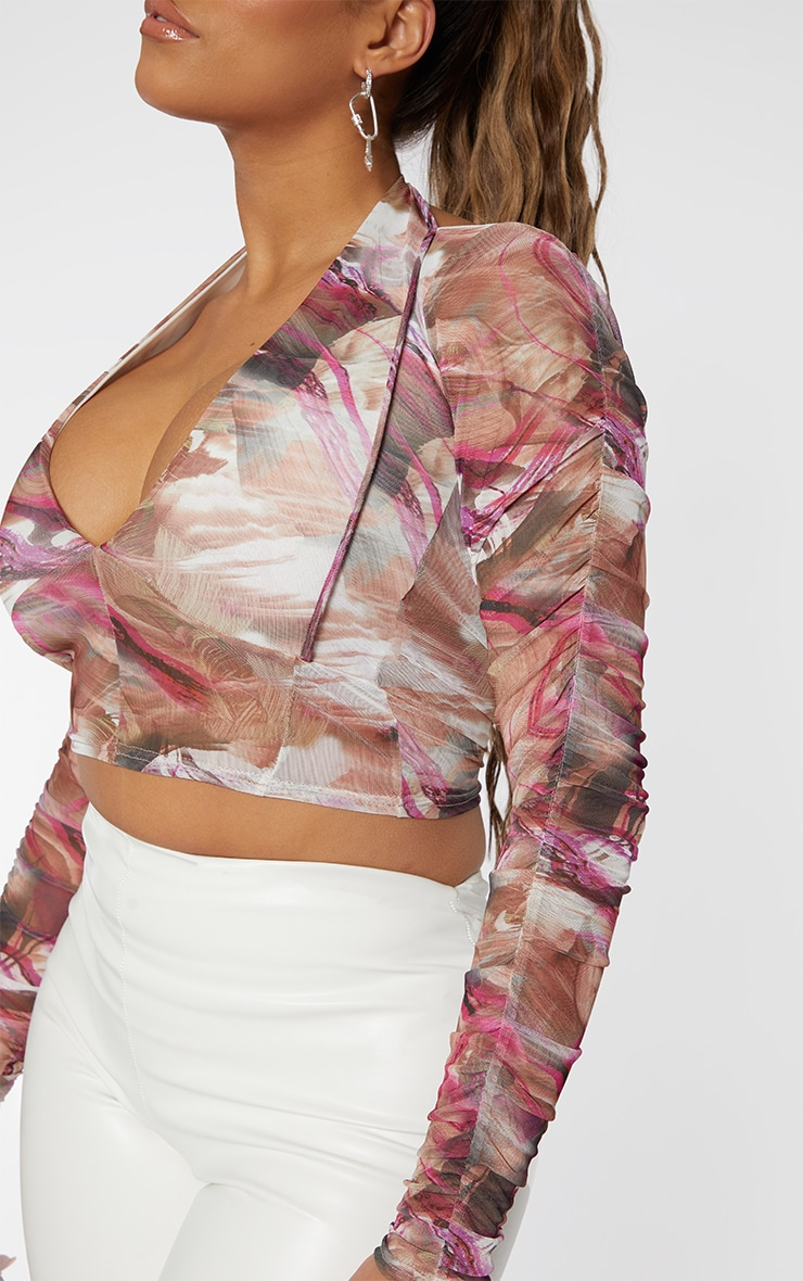 Shape Pink Marble Print Mesh Cut Out Ruched Sleeve Crop Top 4