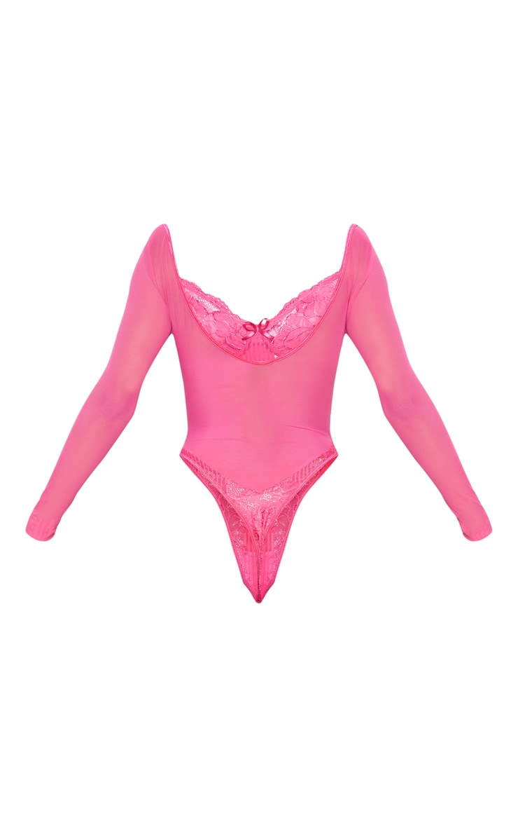 Hot Pink Longsleeve Lace Insert High Leg Cupped Body 4