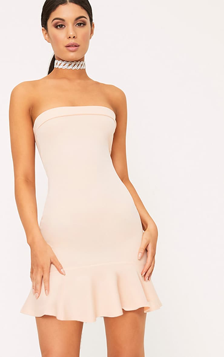 Amallia Nude Bandeau Frill Hem Bodycon Dress 1