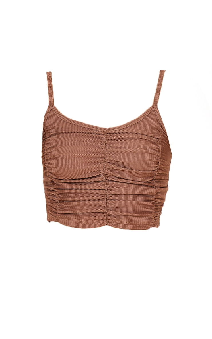 Chocolate Rib Extreme Ruched Crop Top 5