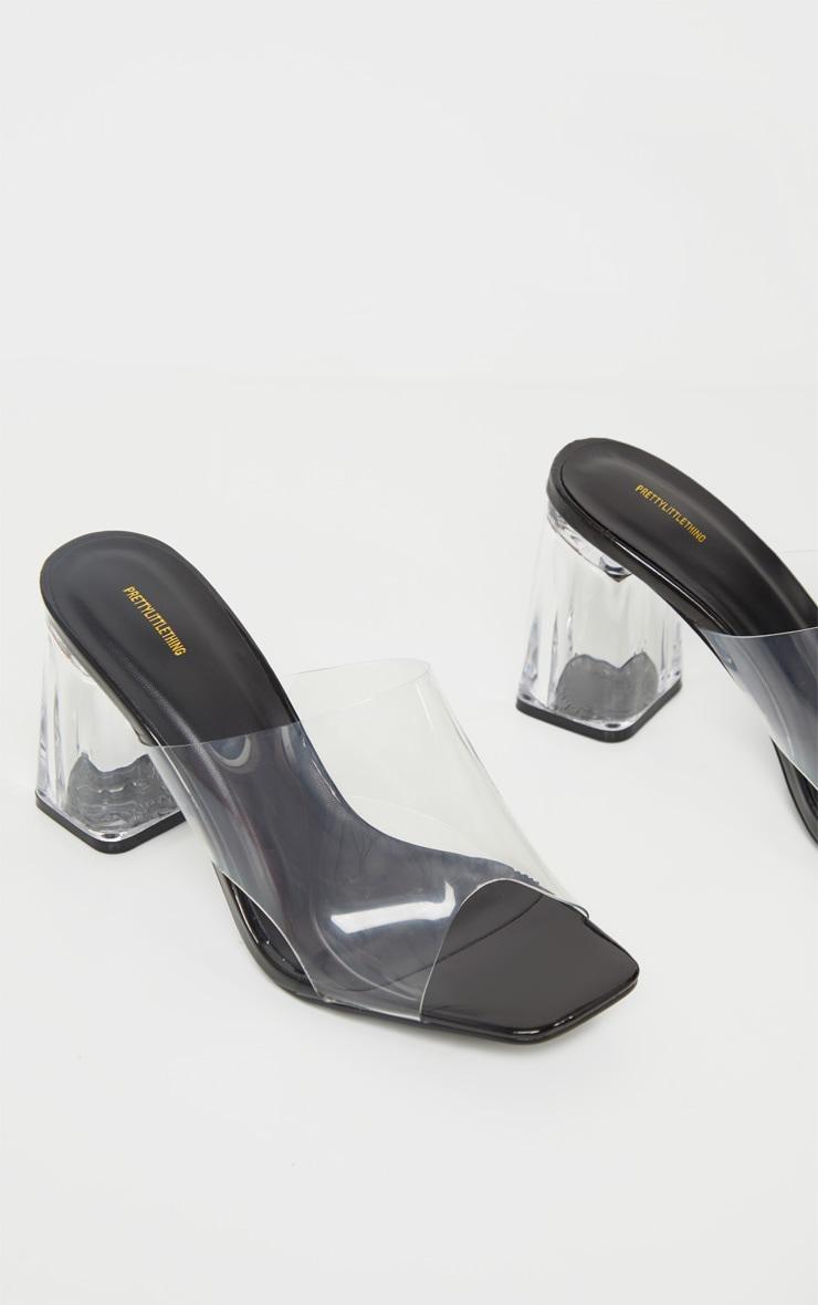 Black Clear Block Heel Mule 3