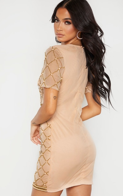 Nude Embellished Beaded Plunge Bodycon Dress