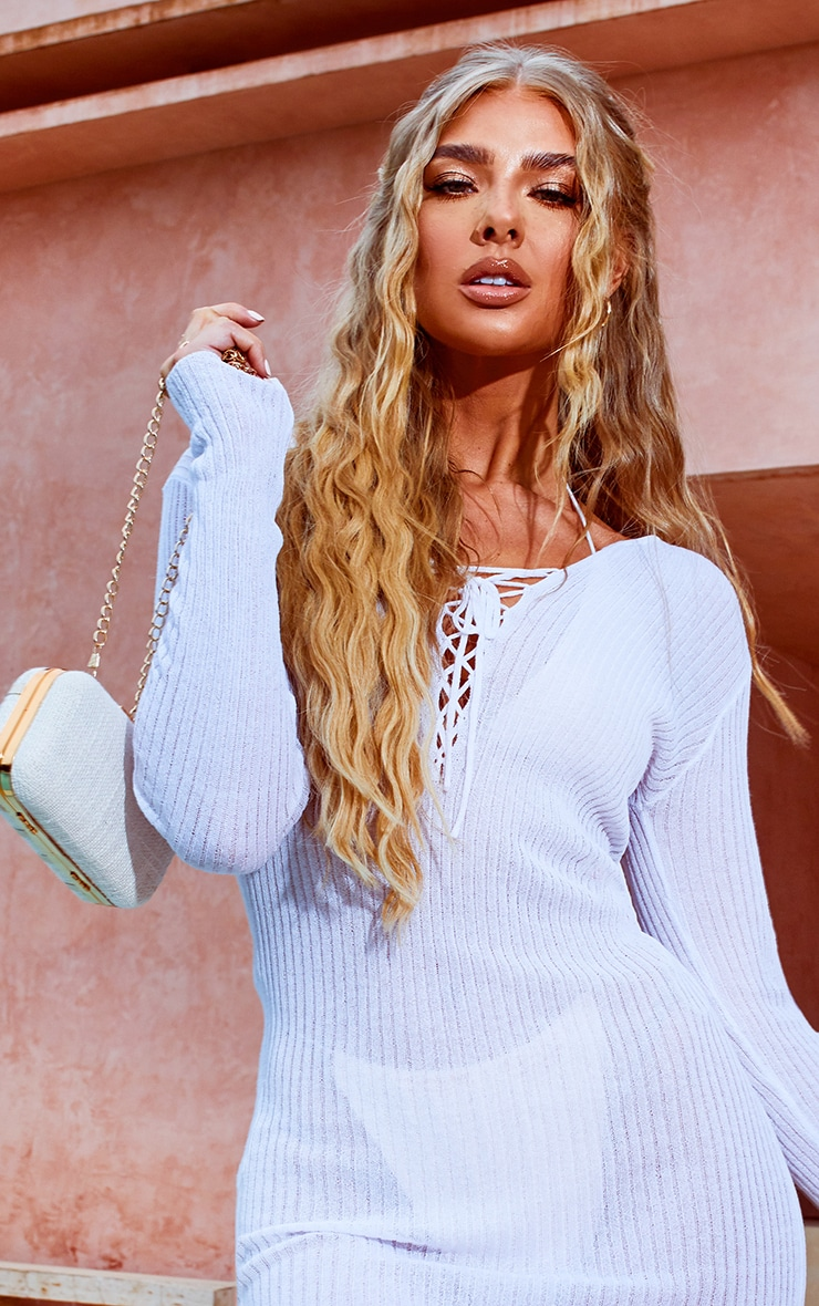 White Fine Knit Sheer Long Sleeve Lace Up Dress 4