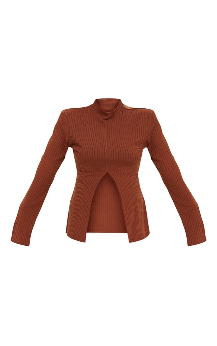 Plus Chocolate Brown Soft Rib Split Front Top 5