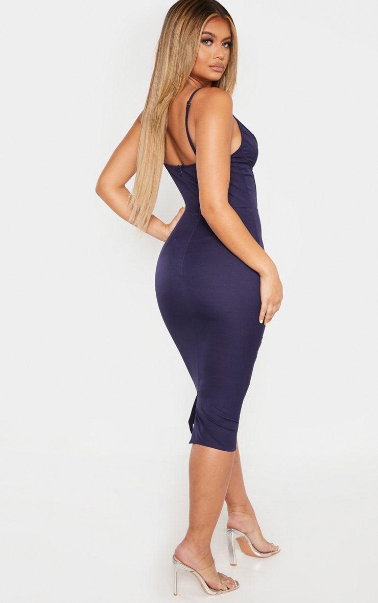 Navy V Bar Binded Midi Dress 2