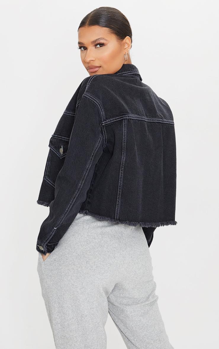 Black With White Contrast Stich Oversized Cropped Pocket Detail Denim Jacket 2